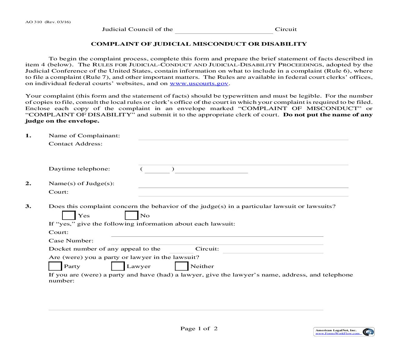 Complaint Of Judicial Misconduct Or Disability {AO 310} | Pdf Fpdf Doc Docx | Official Federal Forms