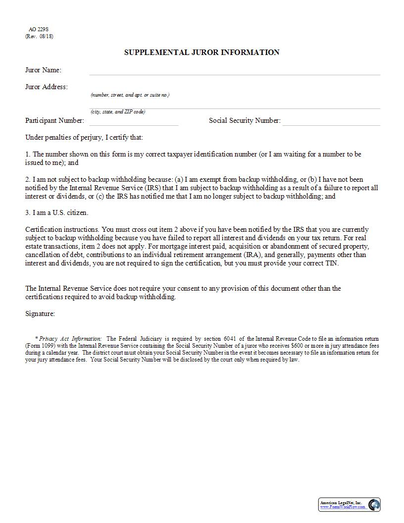 Supplemental Juror Information {AO 229S} | Pdf Fpdf Docx | Official Federal Forms