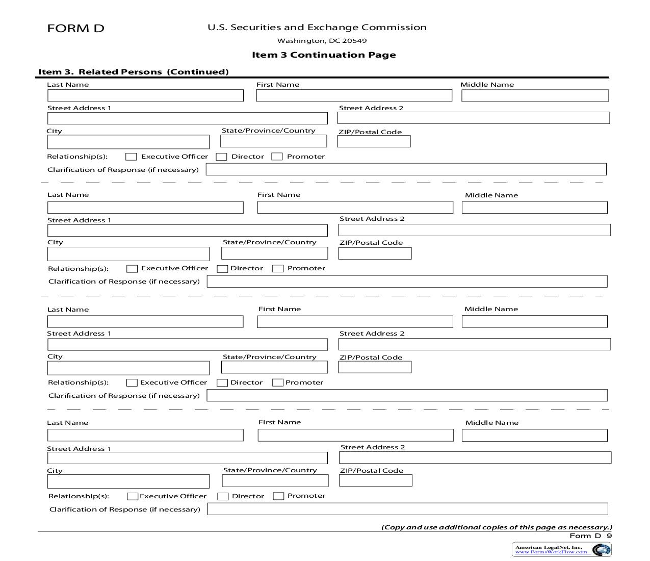 Form D Item 3 Continuation Page Related Persons (Continued) {D} | Pdf Fpdf Doc Docx | Official Federal Forms