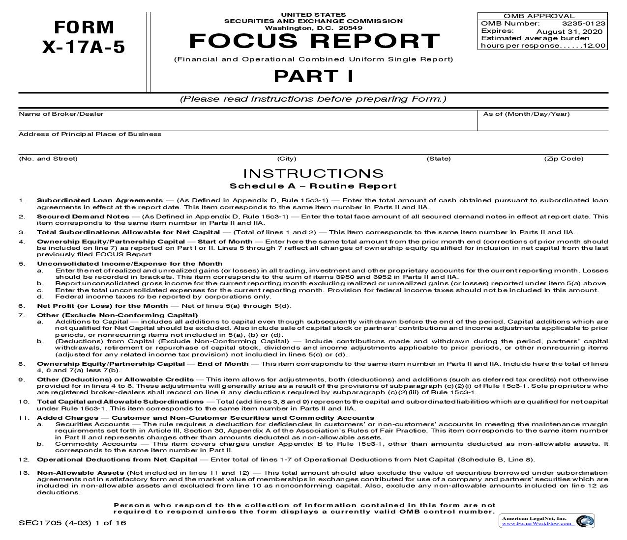Form X-17A-5 Focus Report Part I (SEC1705) {X-17A-5} | Pdf Fpdf Doc Docx | Official Federal Forms
