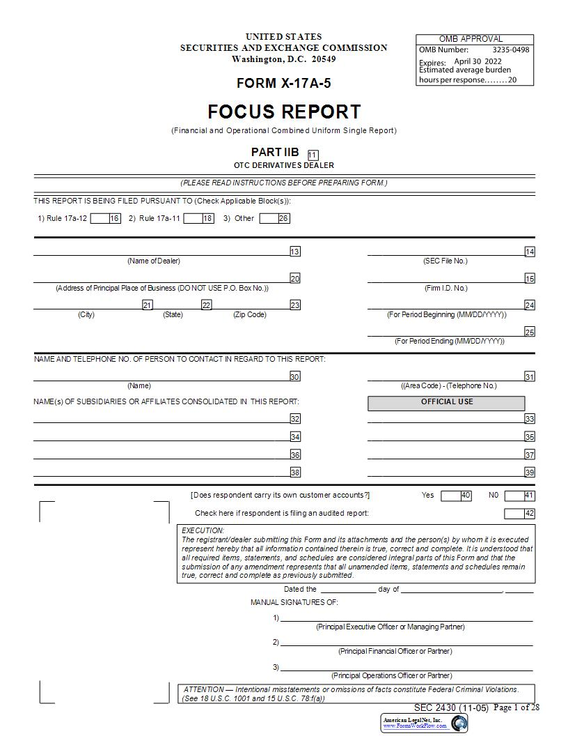 Form X-17A-5 Focus Report Part IIB OTC Derivates Dealer (SEC2430) {X-17A-5} | Pdf Fpdf Docx | Official Federal Forms