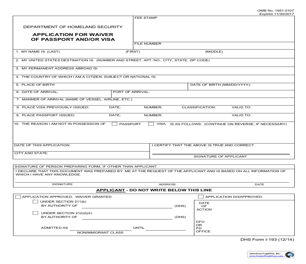 Application For Waiver Of Passport And Or Visa {I-193} | Pdf Fpdf Doc Docx | Official Federal Forms