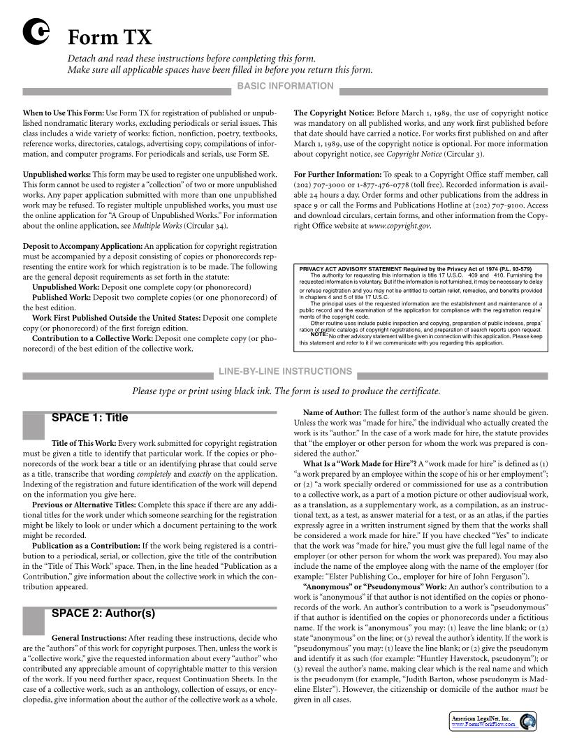 Form TX For A Non-Dramatic Literary Work {TX}   Pdf Fpdf Doc Docx   Official Federal Forms