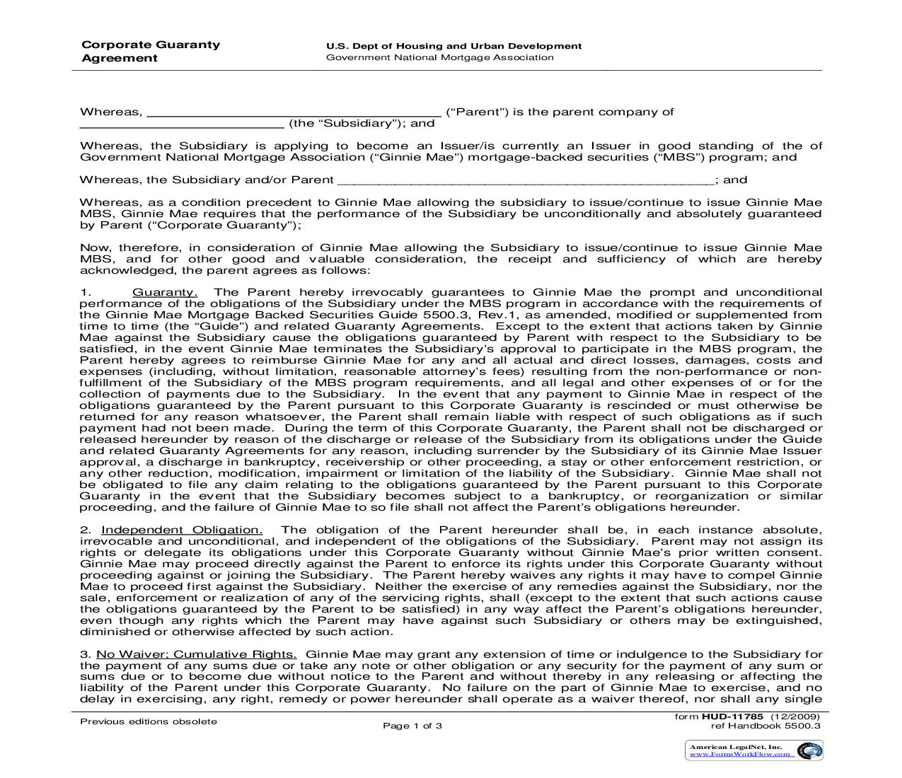 Corporate Guaranty Agreement {HUD-11785} | Pdf Fpdf Doc Docx | Official Federal Forms
