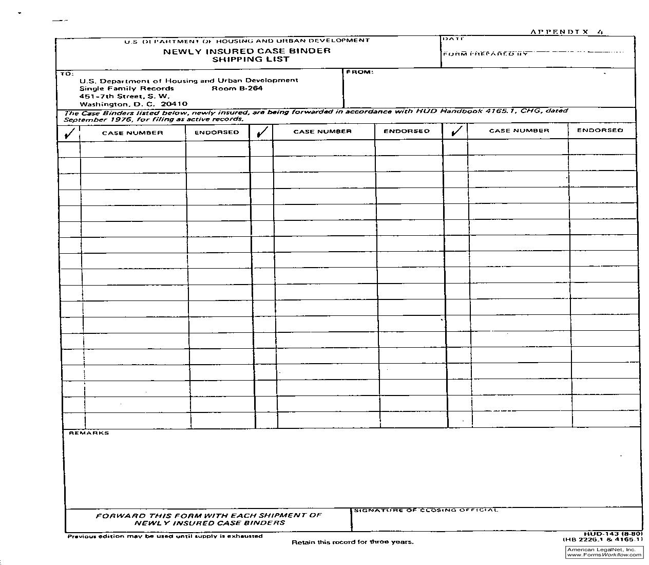 Newly Insured Case Binder Shipping List {HUD-143}   Pdf Fpdf Doc Docx   Official Federal Forms