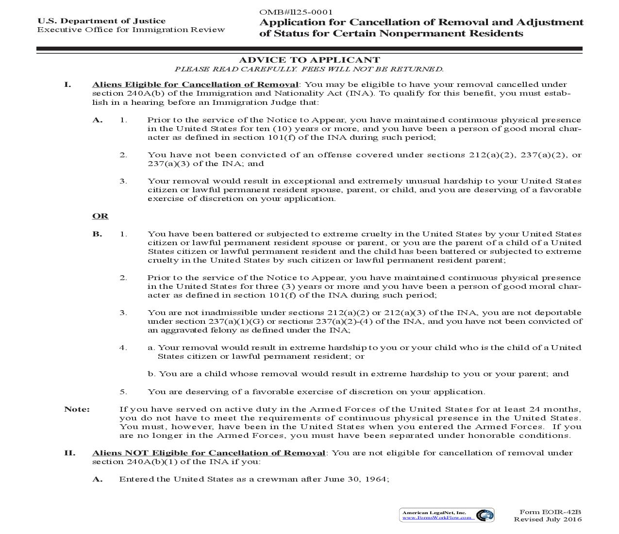 Application For Cancellation Of Removal And Adjustment Of Status For Certain Nonpermanent Residents {EOIR-42B} | Pdf Fpdf Doc Docx | Official Federal Forms