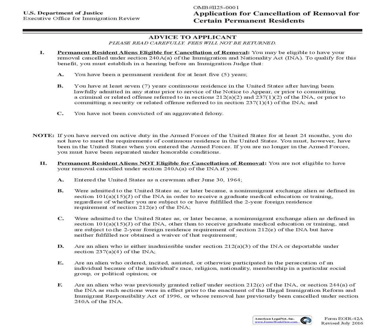 Application For Cancellation Of Removal For Certain Permanent Residents {EOIR-42A}   Pdf Fpdf Doc Docx   Official Federal Forms