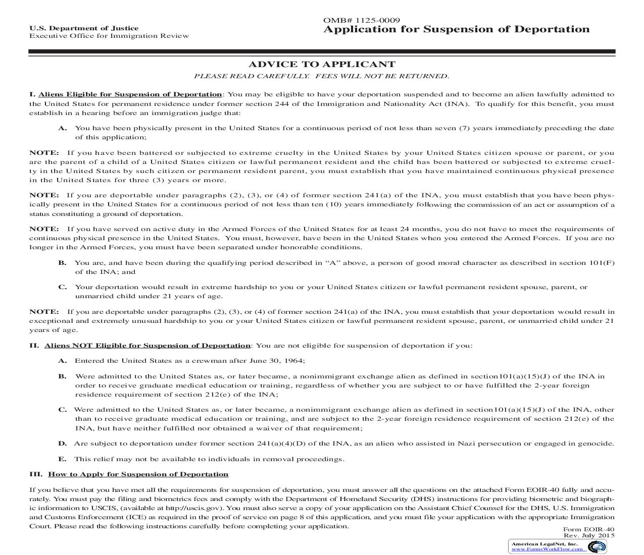 Application For Suspension Of Deportation {EOIR-40} | Pdf Fpdf Doc Docx | Official Federal Forms