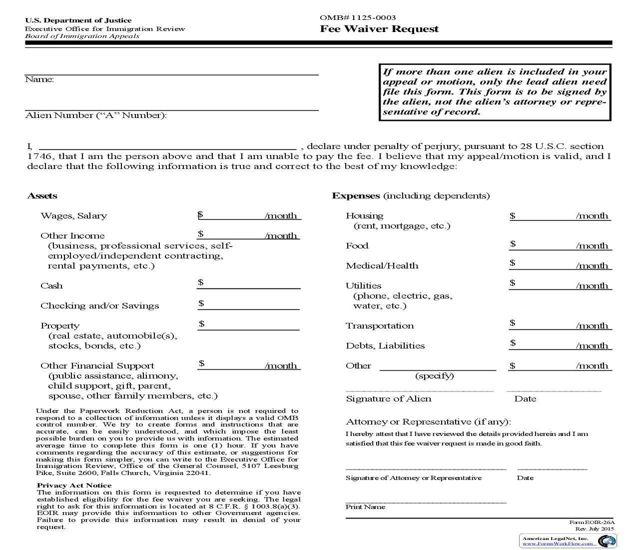 Fee Waiver Request {EOIR-26A} | Pdf Fpdf Doc Docx | Official Federal Forms