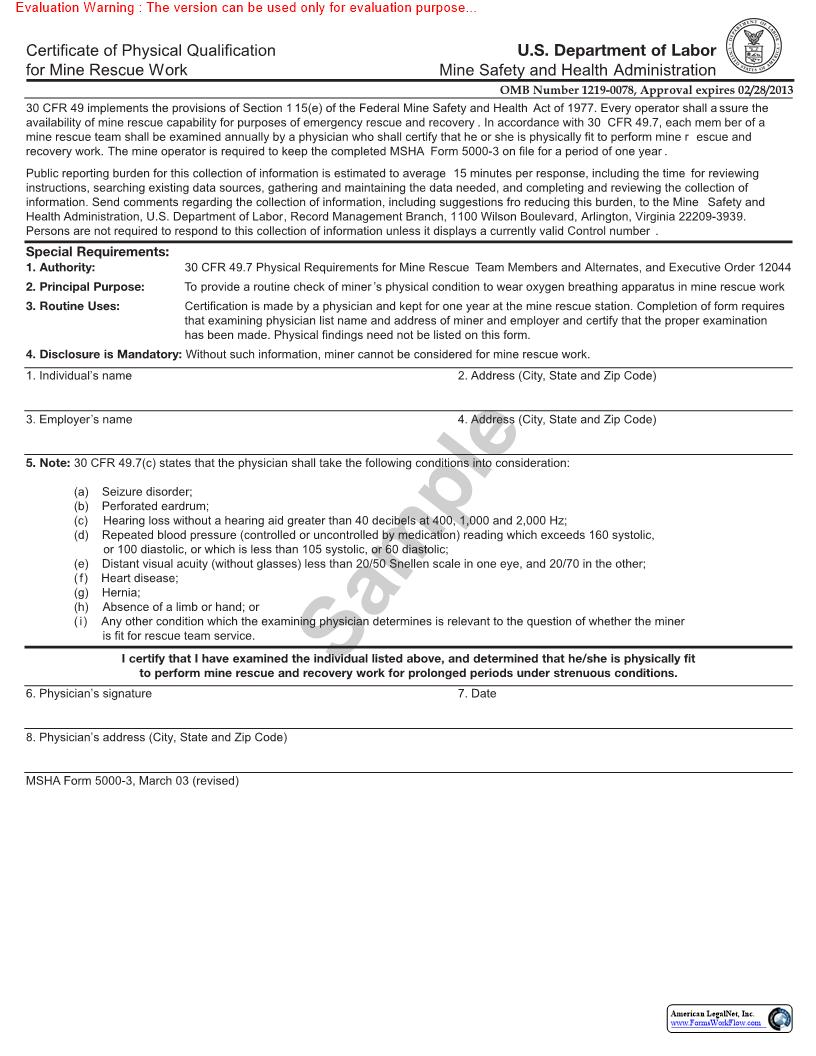 Certificate Of Physical Qualification For Mine Rescue Work {MSHA 5000-3} | Pdf Fpdf Doc Docx | Official Federal Forms