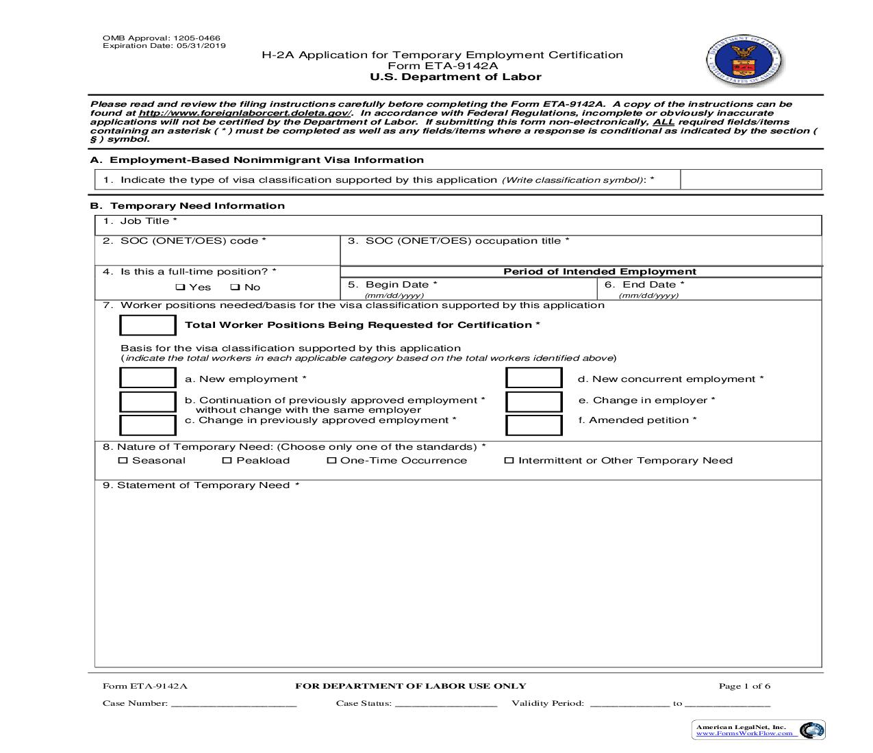 H-2A Application For Temporary Employment Certification {ETA-9142A} | Pdf Fpdf Doc Docx | Official Federal Forms