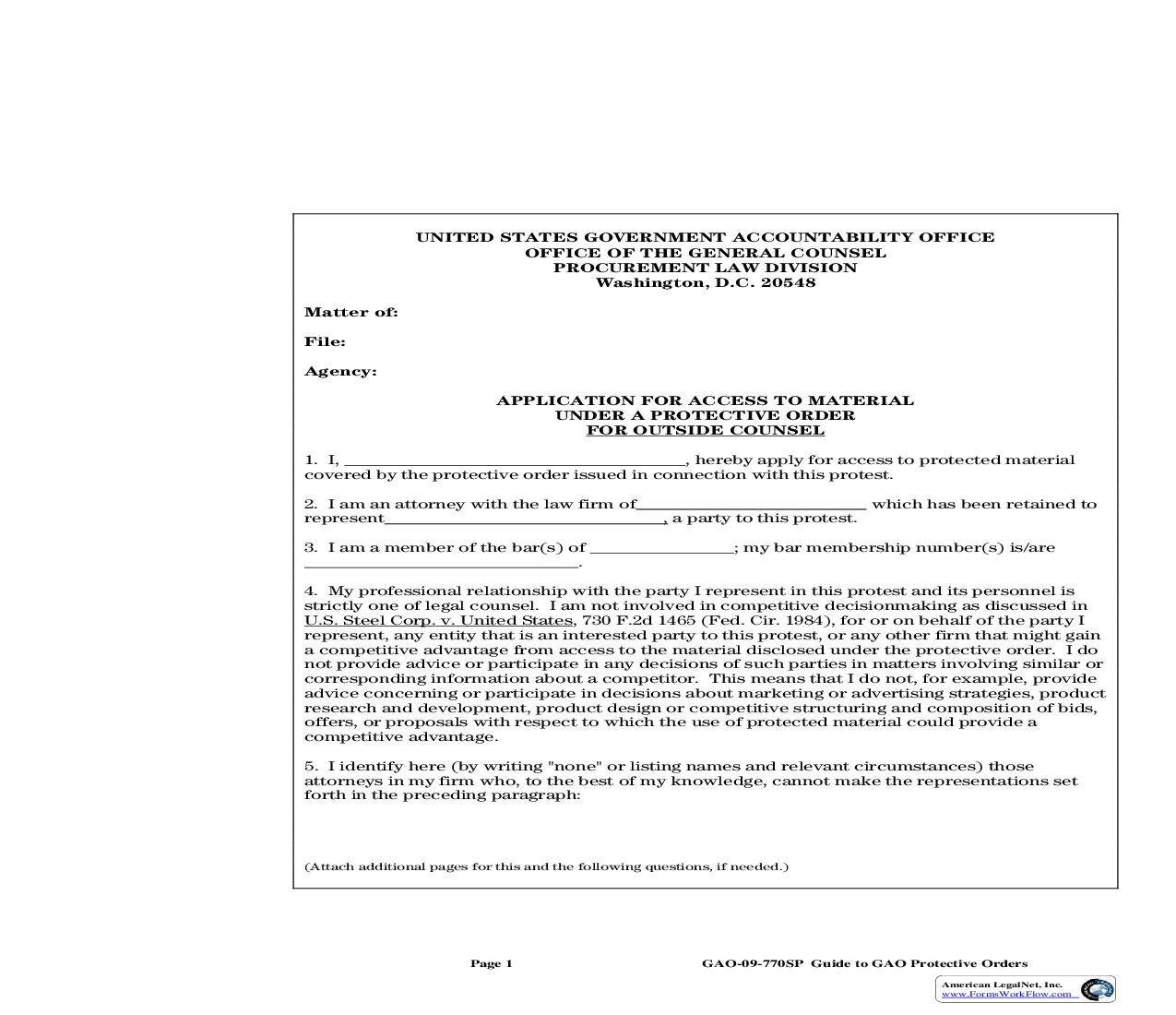 Application For Access To Material Under A Protective Order (Outside Counsel) {GAO-09-770SP} | Pdf Fpdf Doc Docx | Official Federal Forms