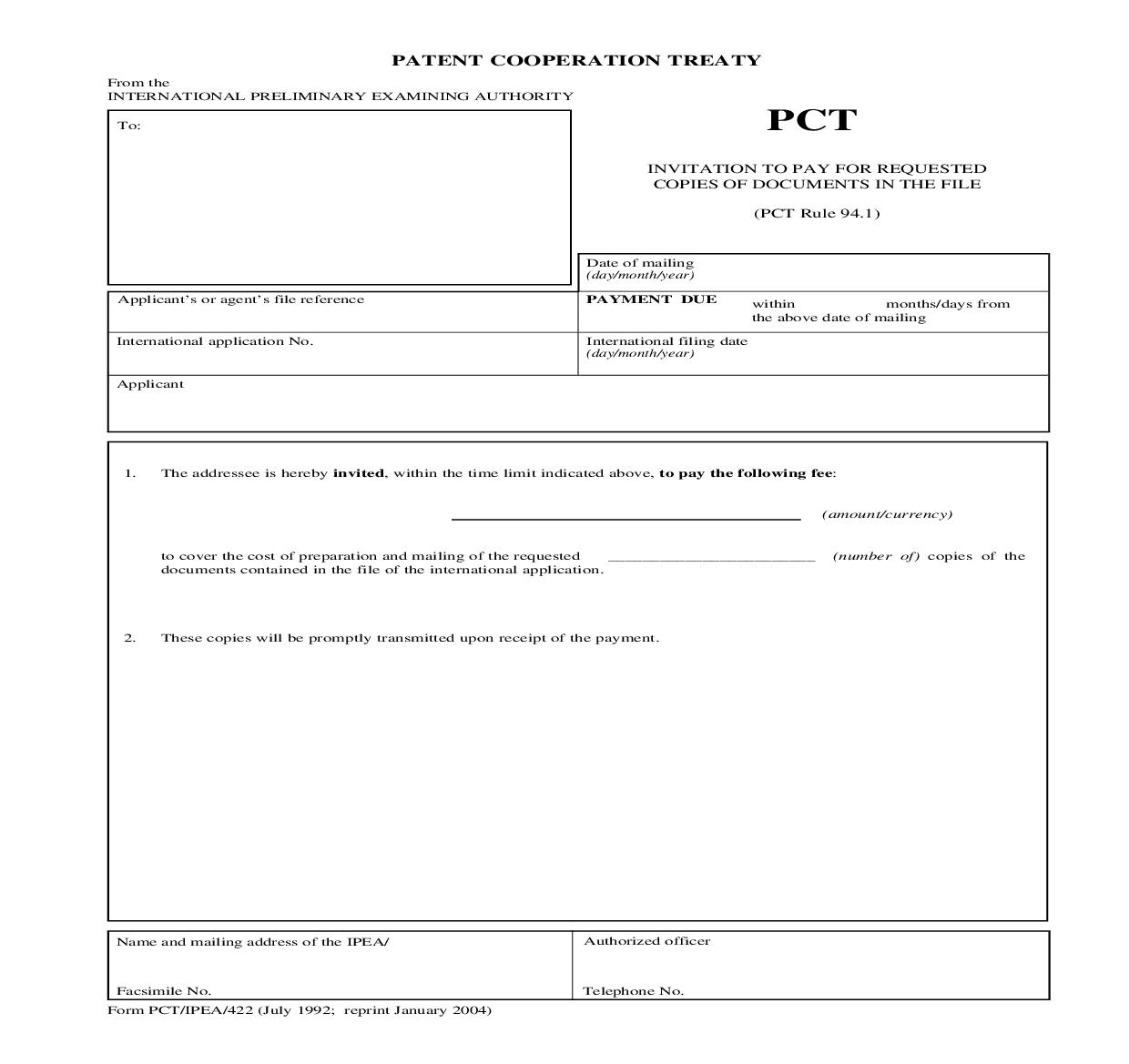 Invitation To Pay For Requested Copies Of Documents In The File {PCT-IPEA-422} | Pdf Fpdf Doc Docx | Official Federal Forms