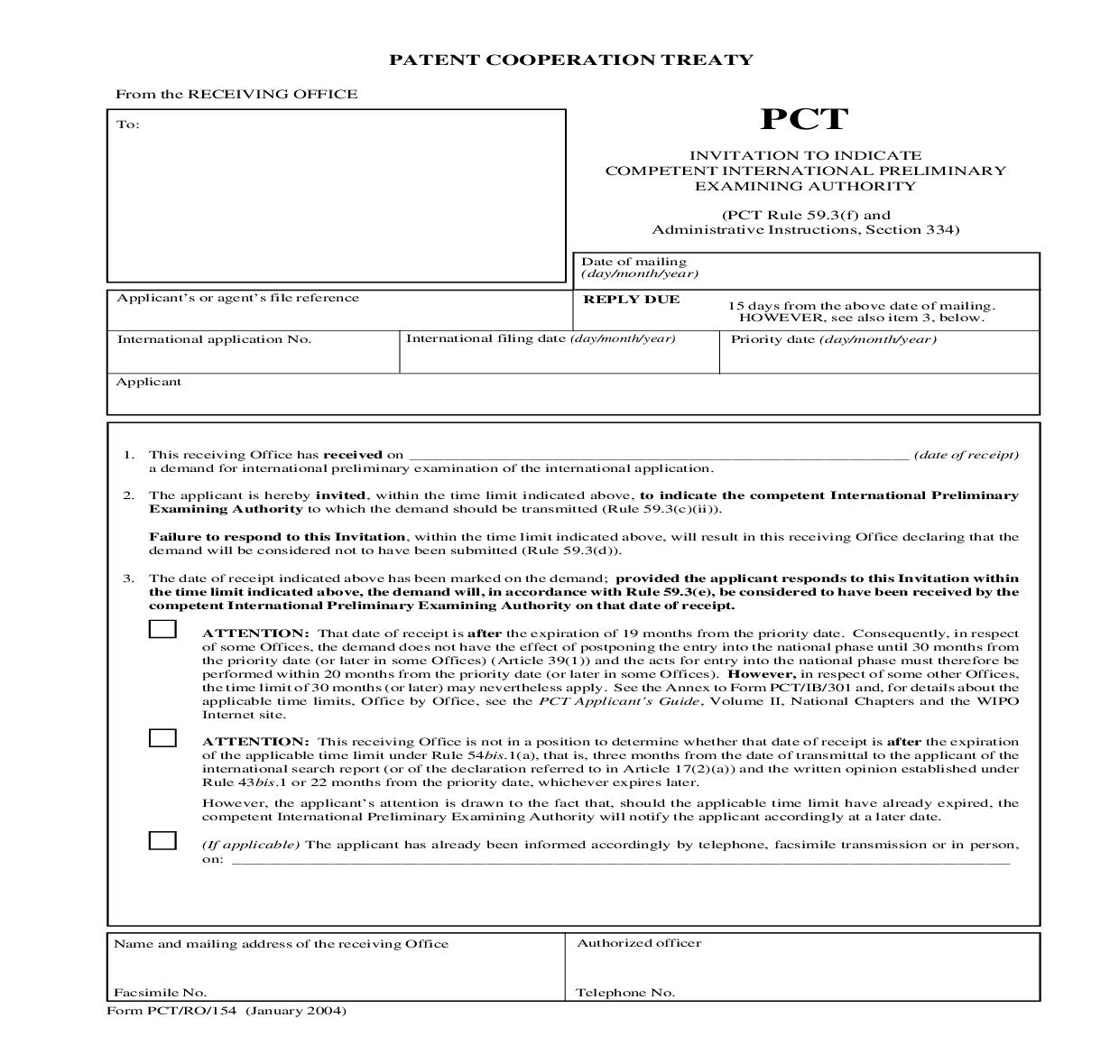 Invitation To Indicate Competent International Preliminary Examining Authority {PCT-RO-154} | Pdf Fpdf Doc Docx | Official Federal Forms