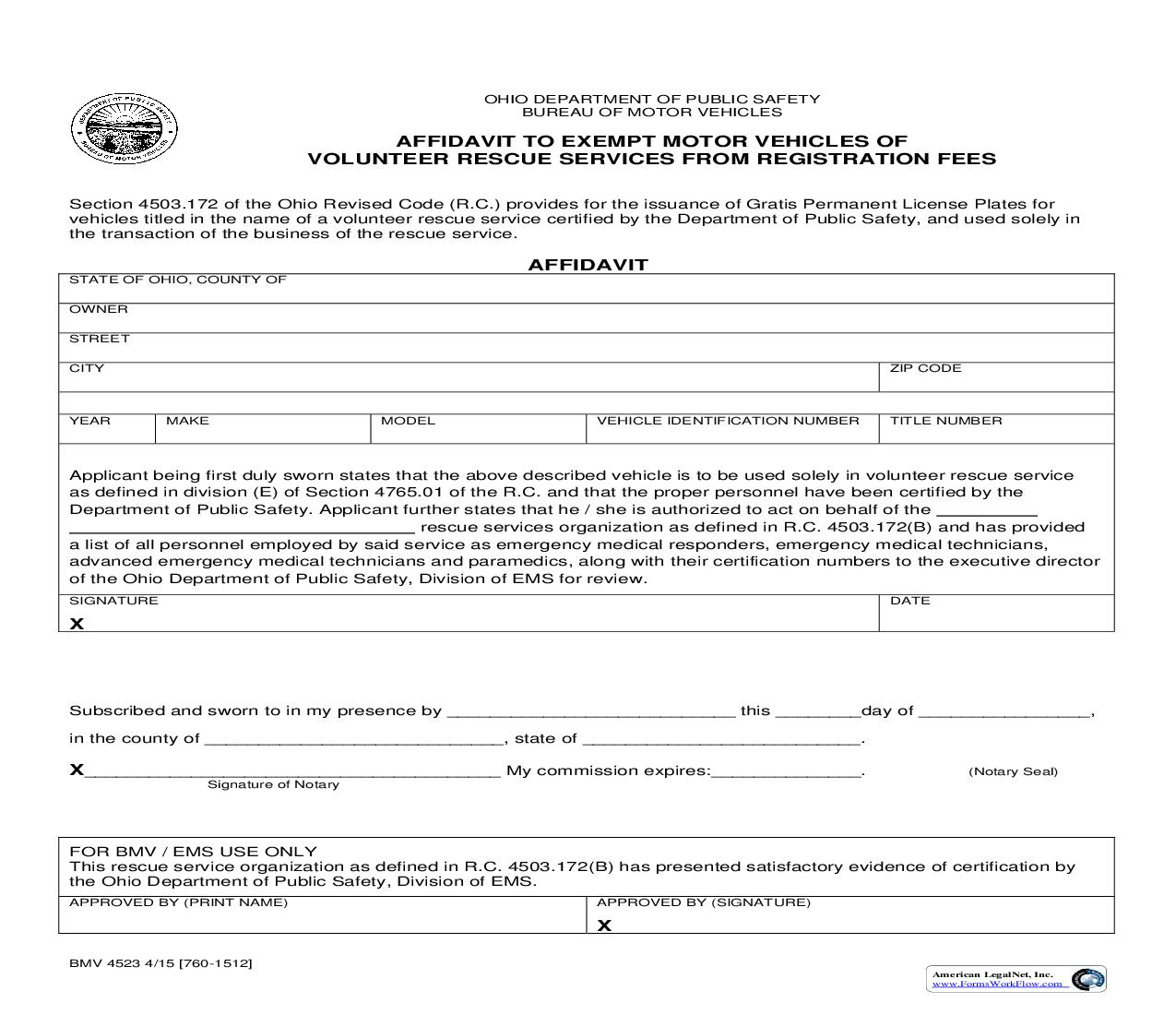 Affidavit To Exempt Motor Vehicles Of Voulunteer Rescue Services From Registration Fees {BMV 4523} | Pdf Fpdf Doc Docx | Ohio
