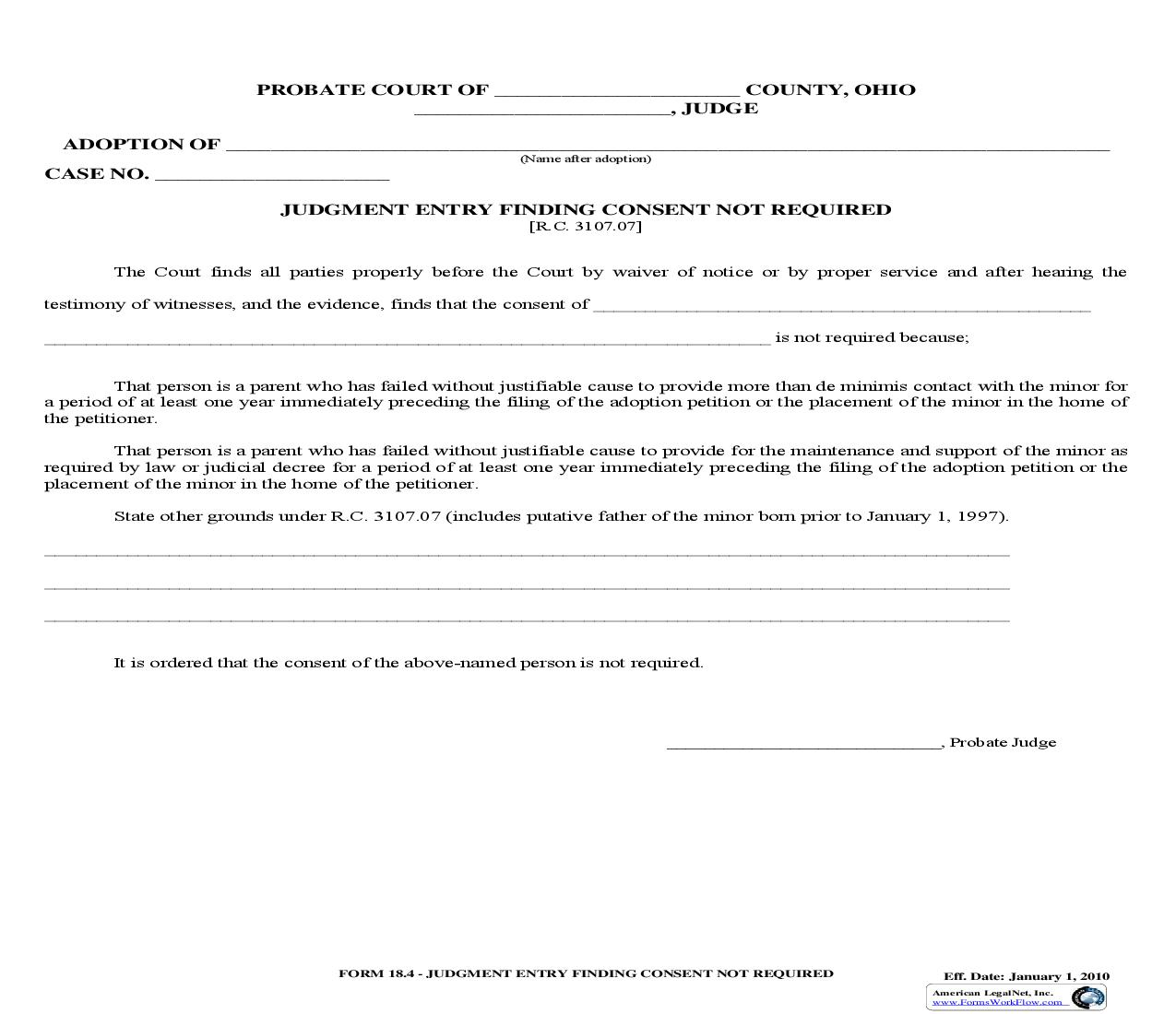 Judgment Entry Finding Consent Not Required {18.4} | Pdf Fpdf Doc Docx | Ohio