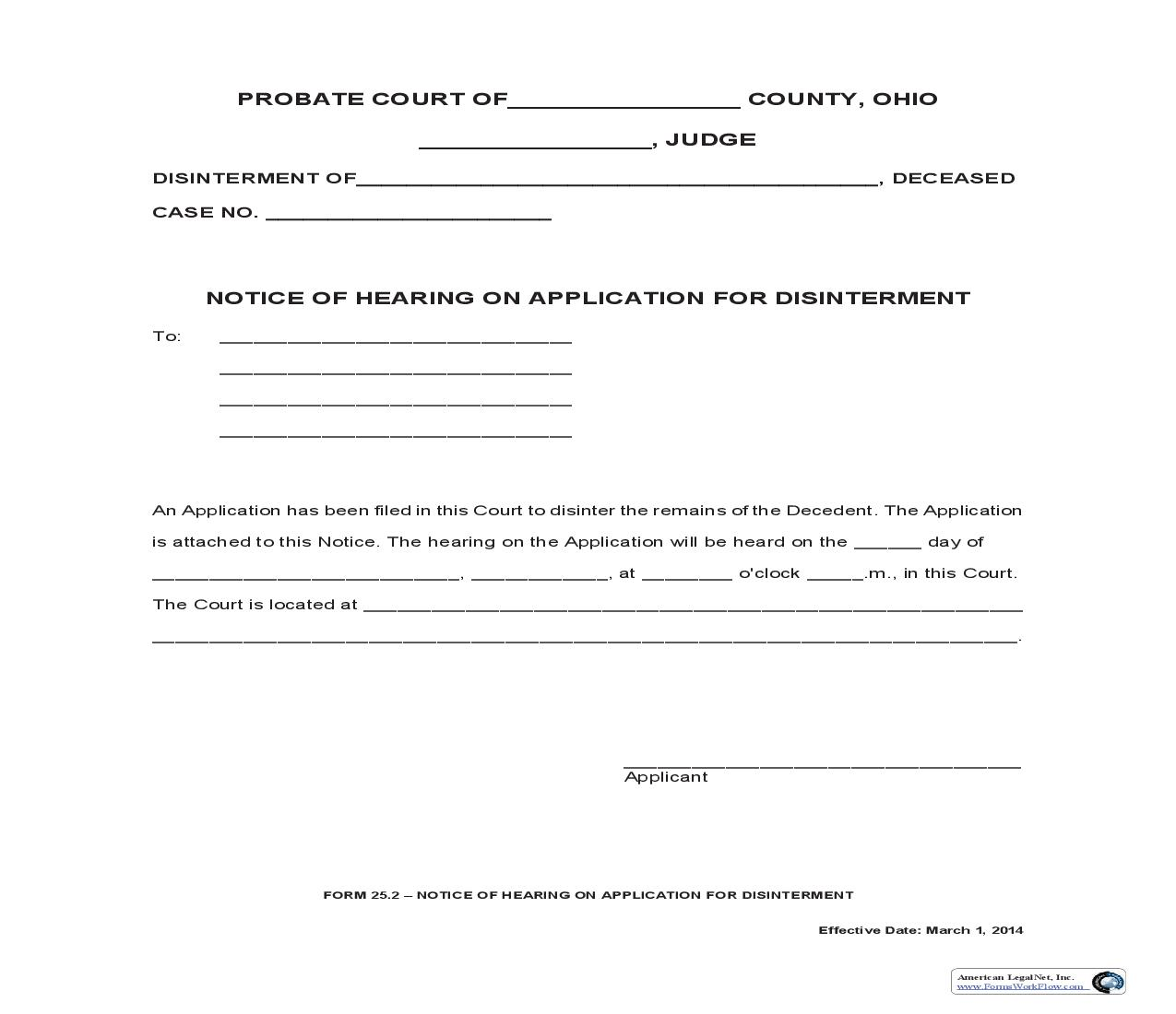 Notice Of Hearing On Application For Disinterment {25.2} | Pdf Fpdf Doc Docx | Ohio