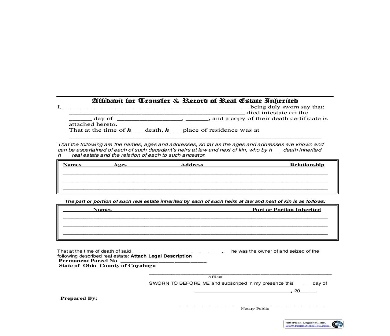 Cuyahoga County Affidavit For Transfer And Record Of Real Estate Inherited   Pdf Fpdf Doc Docx   Ohio