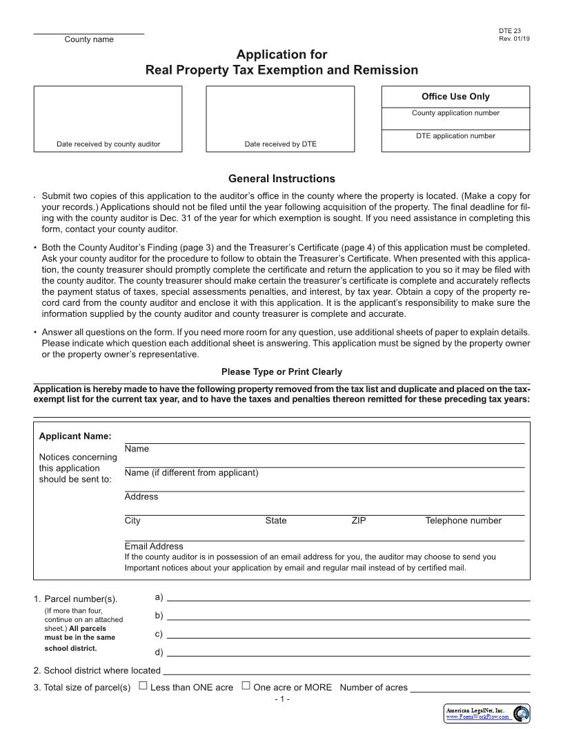 Application For Real Property Tax Exemption And Remission {DTE 23}   Pdf Fpdf Doc Docx   Ohio