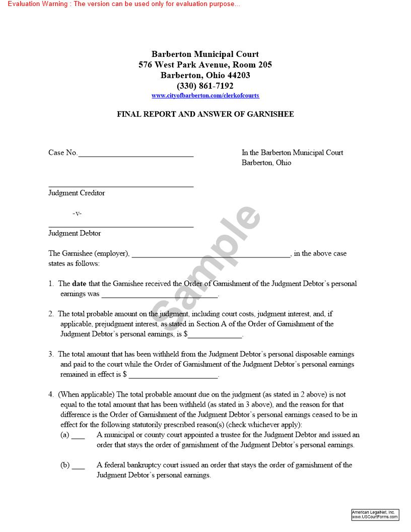 Final Report And Answer Of Garnishee   Pdf Fpdf Doc Docx   Ohio