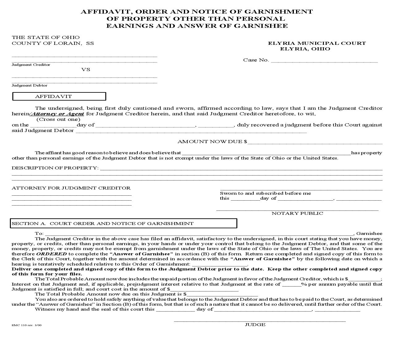 Affidavit Order And Notice Of Garnishment Of Property Other Than Personal Earnings And Answer Of Garnishee {EMC 110} | Pdf Fpdf Doc Docx | Ohio