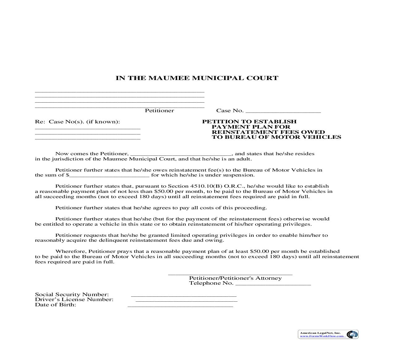 Petition To Establish Payment Plan For Reinstatement Fees Owned To Bureau Of Motor Vehicles | Pdf Fpdf Doc Docx | Ohio