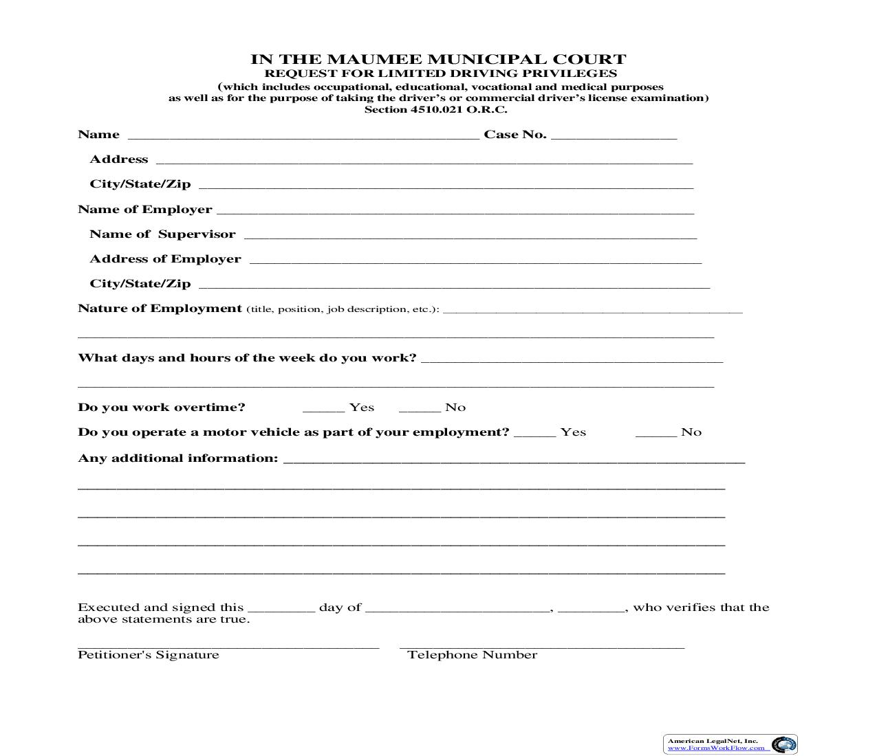 Request For Limited Driving Privileges | Pdf Fpdf Doc Docx | Ohio