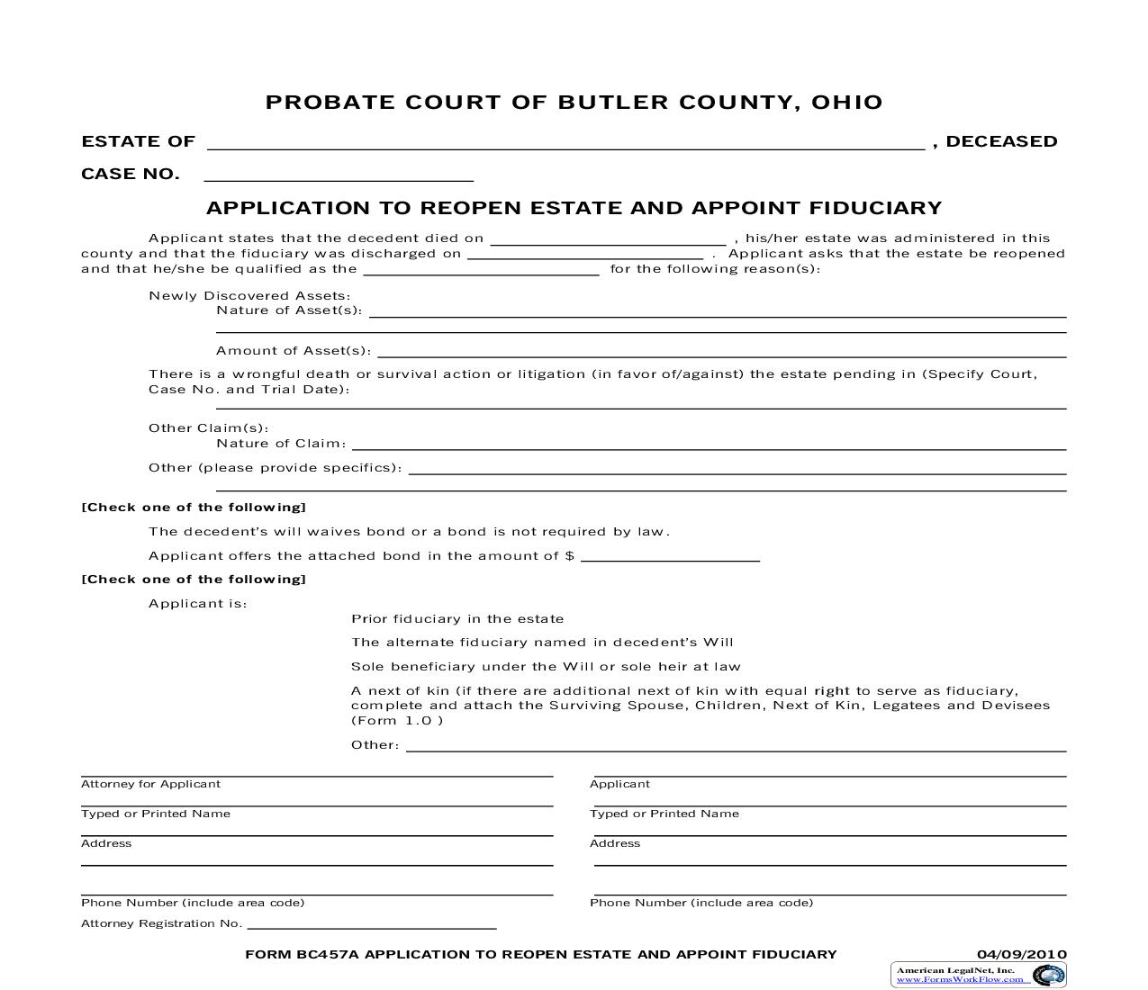Application To Reopen Estate And Appoint Fiduciary  {457} | Pdf Fpdf Doc Docx | Ohio