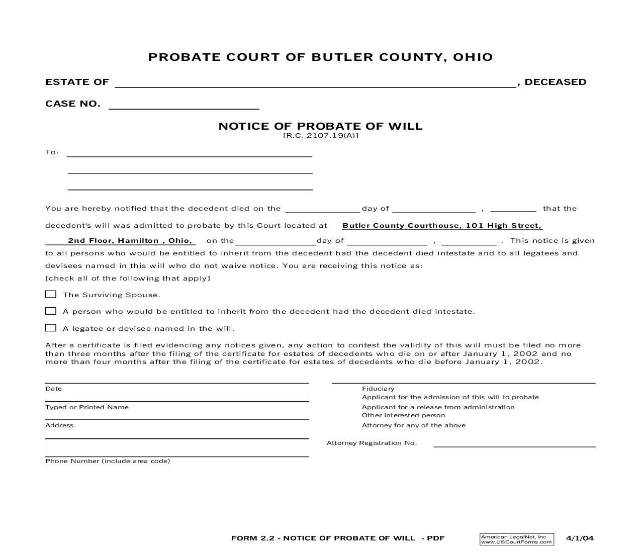 Notice Of Probate Of Will {2.2} | Pdf Fpdf Doc Docx | Ohio
