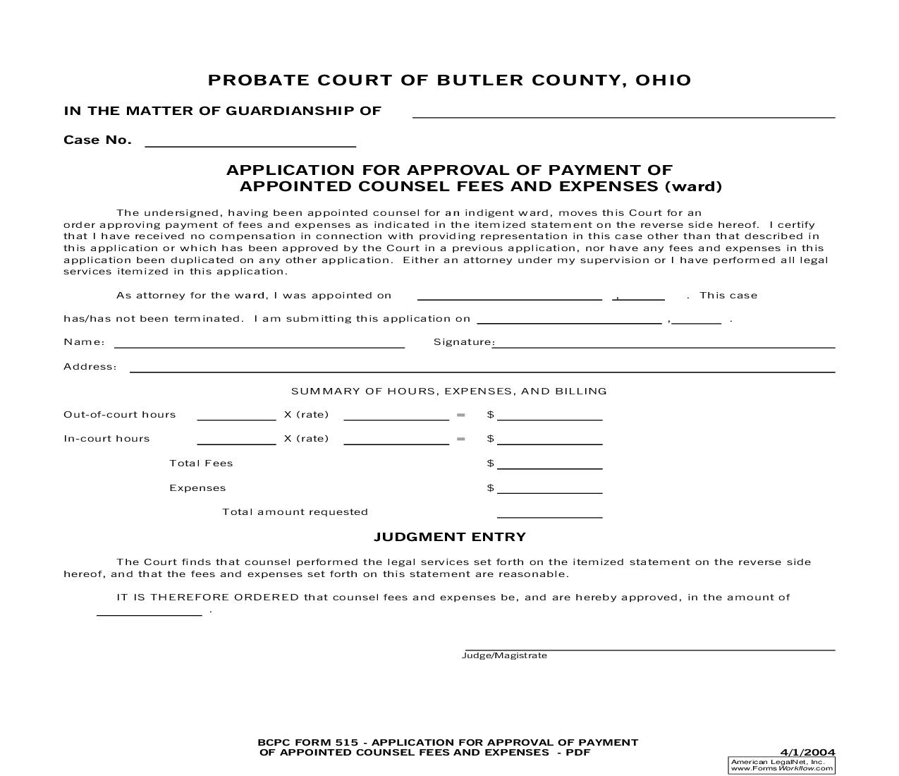 Application For Approval Of Payment Of Appointed Counsel Fees And Expenses {515} | Pdf Fpdf Doc Docx | Ohio