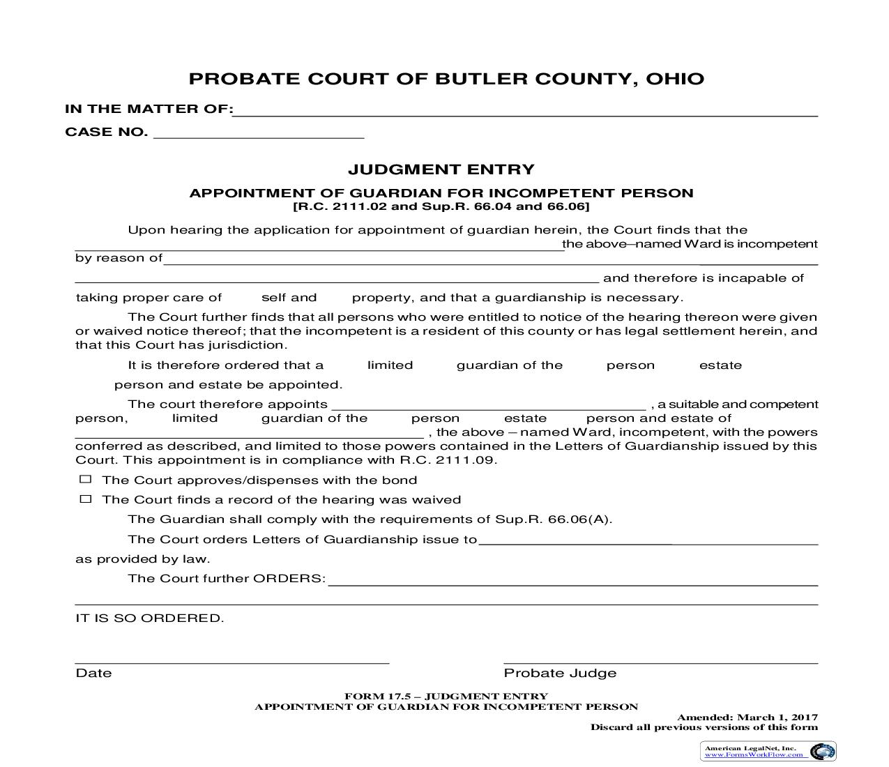 Judgment Entry Appointment Of Guardian For Incompetent Person {17.5} | Pdf Fpdf Doc Docx | Ohio
