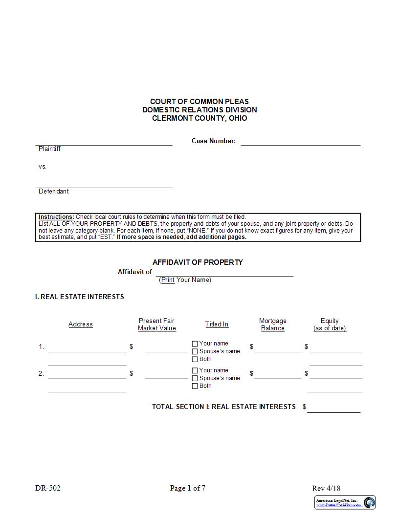 Affidavit Of Property {DR-502} | Pdf Fpdf Docx | Ohio