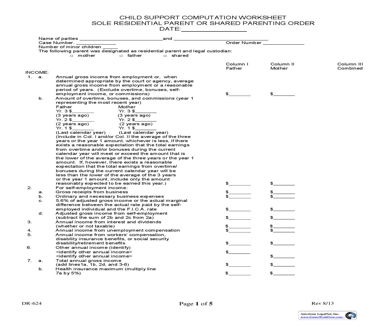 Child Support Computation Worksheet Sole Residential Parents Or Shared Parenting Order {DR-624} | Pdf Fpdf Doc Docx | Ohio