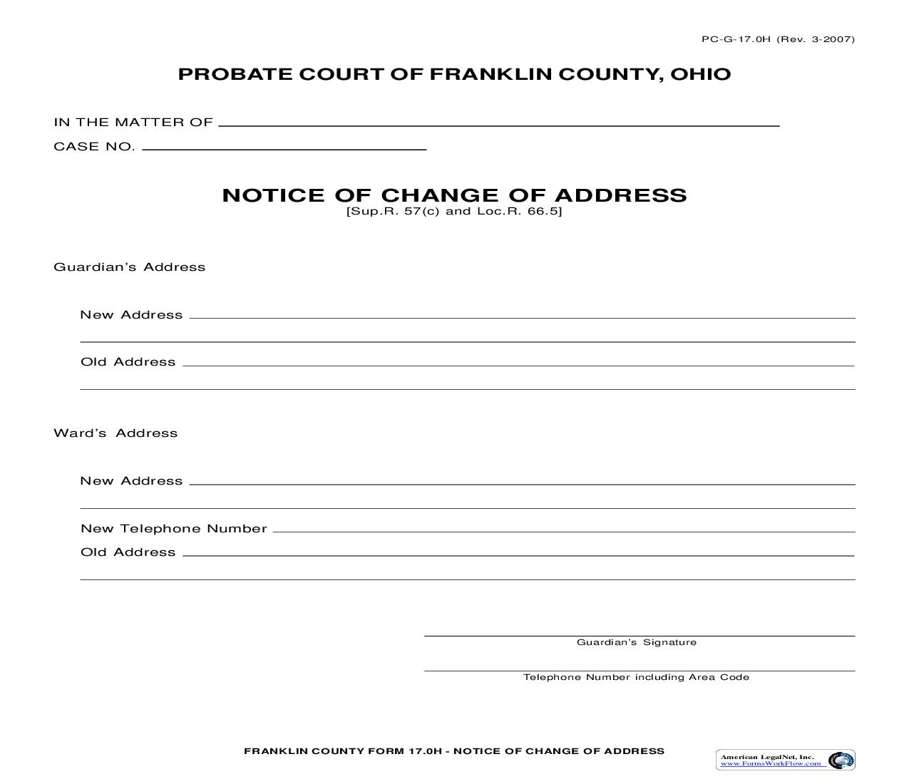 Notice Of Change Of Address {17.0H} | Pdf Fpdf Doc Docx | Ohio