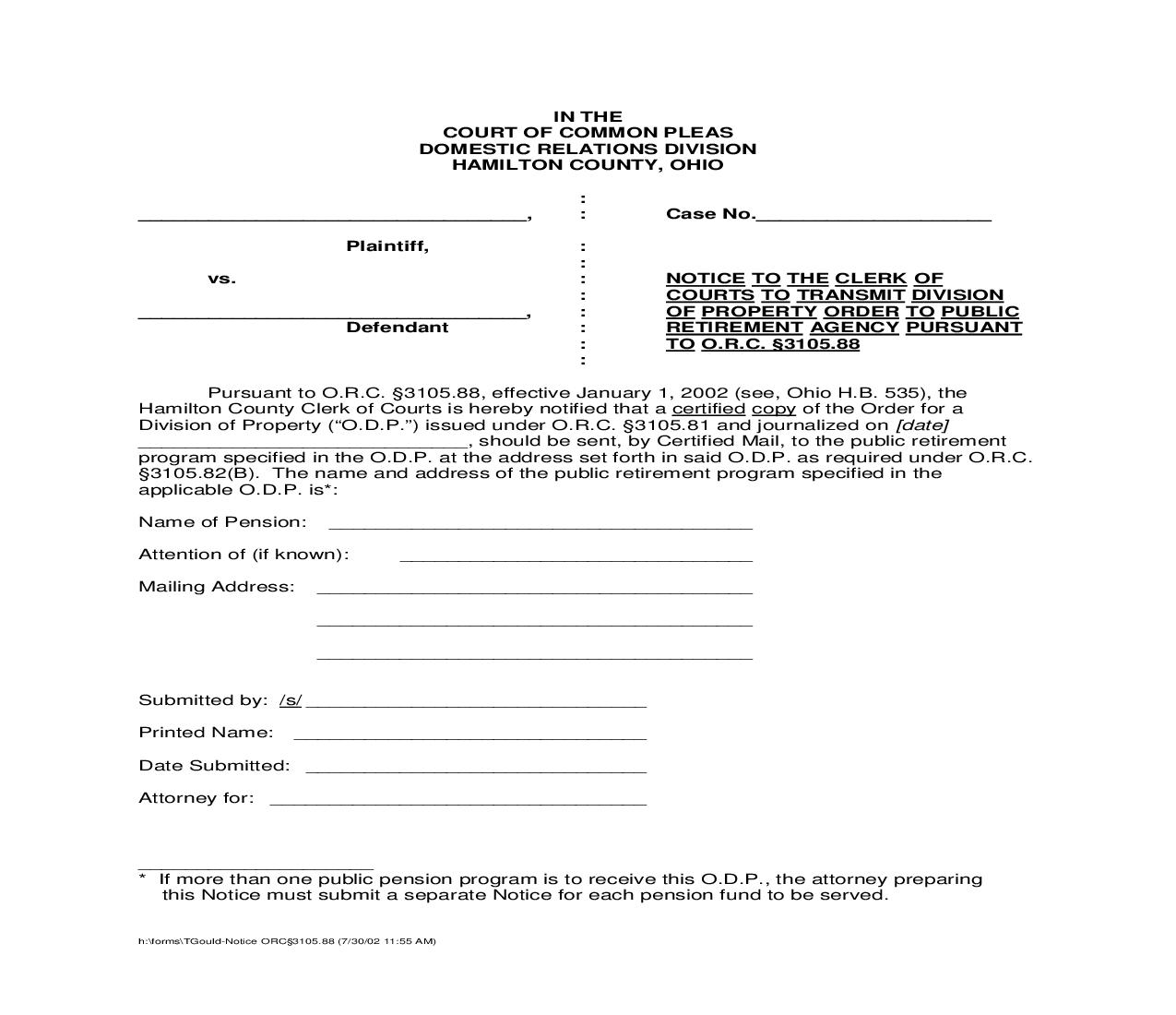 Notice To The Clerk Of Courts | Pdf Fpdf Doc Docx | Ohio