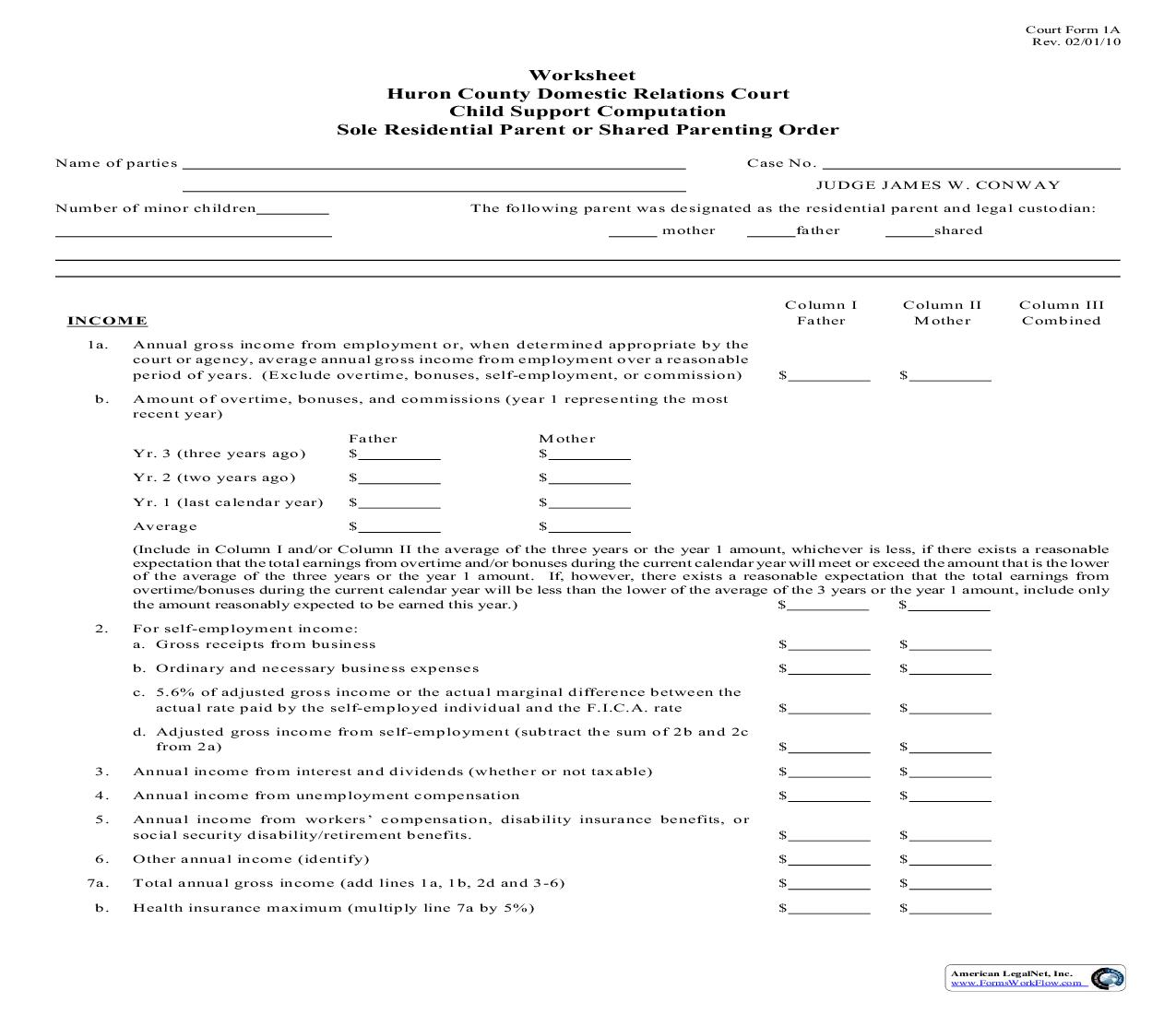 Worksheet Child Support Computation Sole Residential Parent Or Shared Parenting Order {1A} | Pdf Fpdf Doc Docx | Ohio