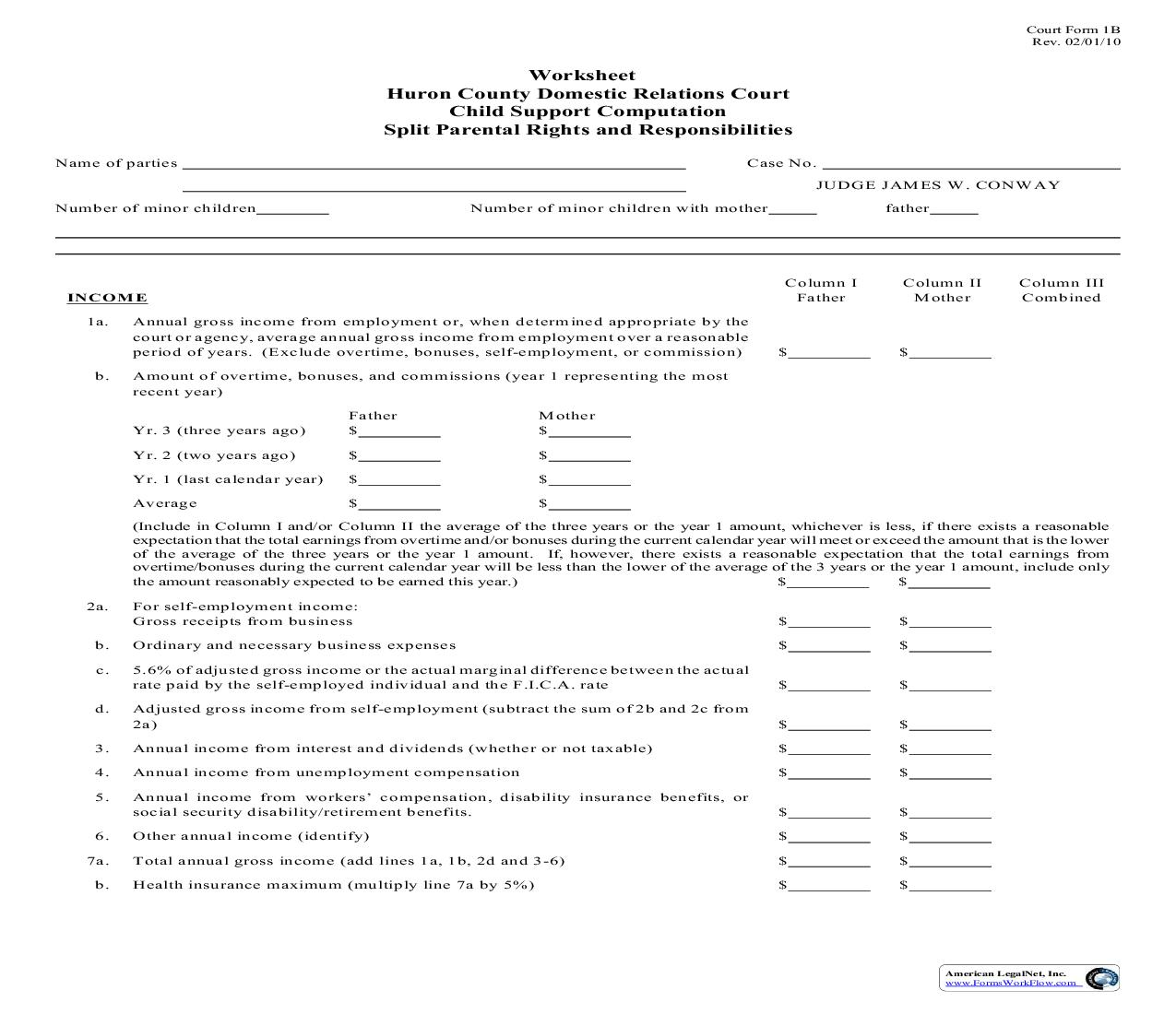 Worksheet Child Support Computation Split Parental Rights And Responsibilities {1B} | Pdf Fpdf Doc Docx | Ohio