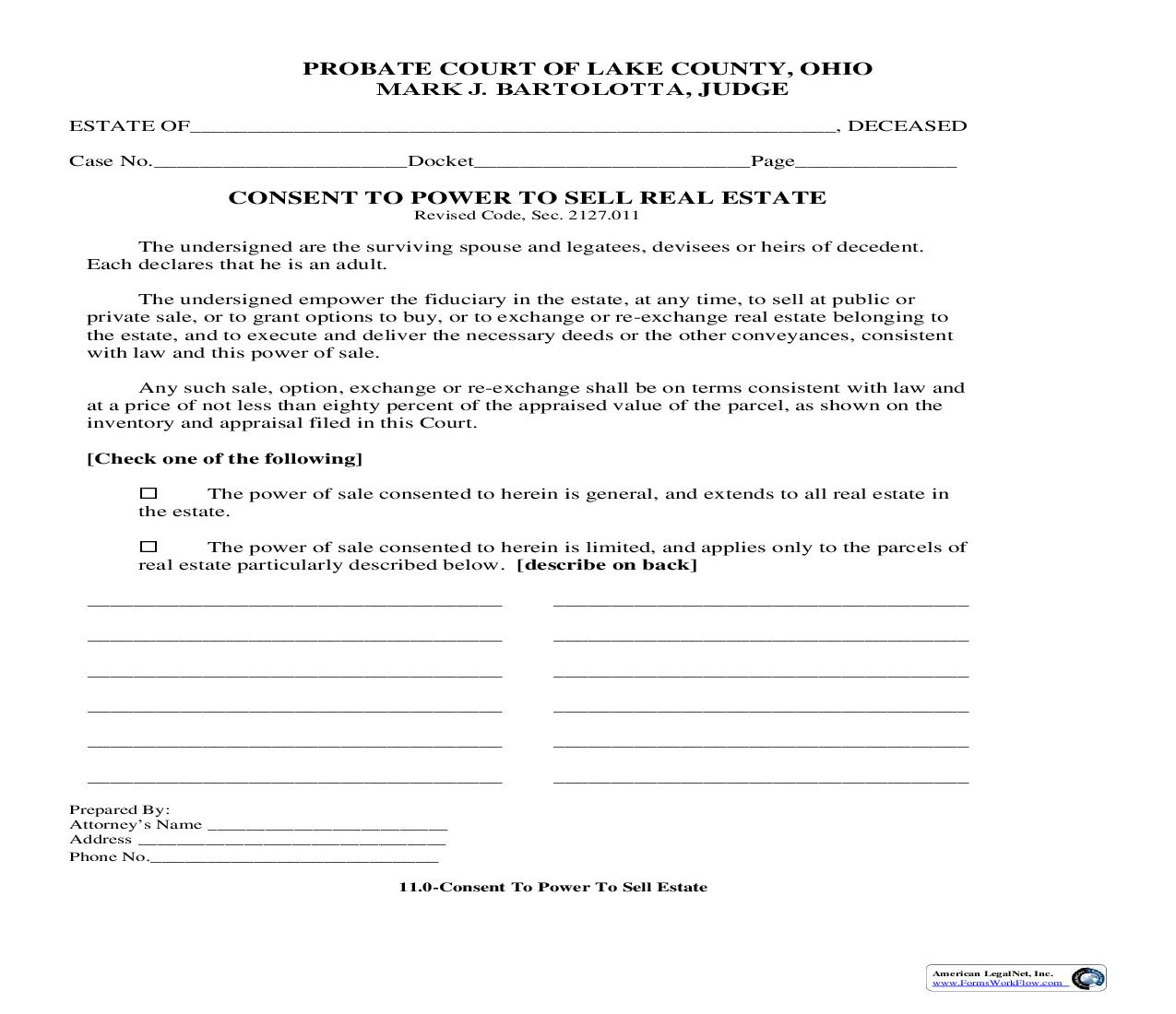 Consent To Power To Sell Real Estate {11.0} | Pdf Fpdf Doc Docx | Ohio