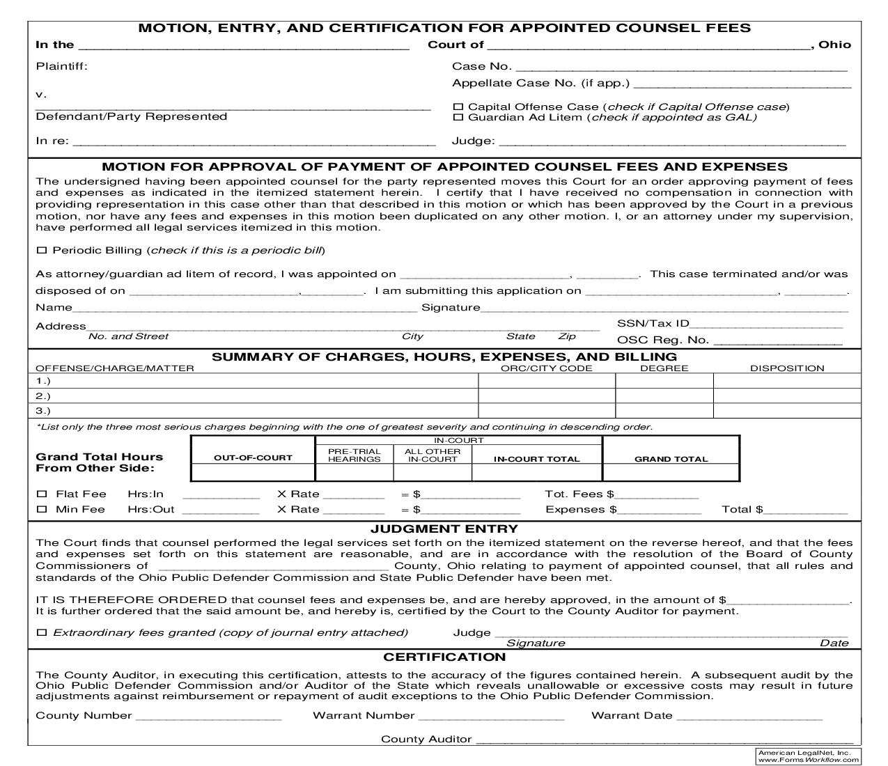Motion Entry And Certification For Appointed Counsel Fees   Pdf Fpdf Doc Docx   Ohio