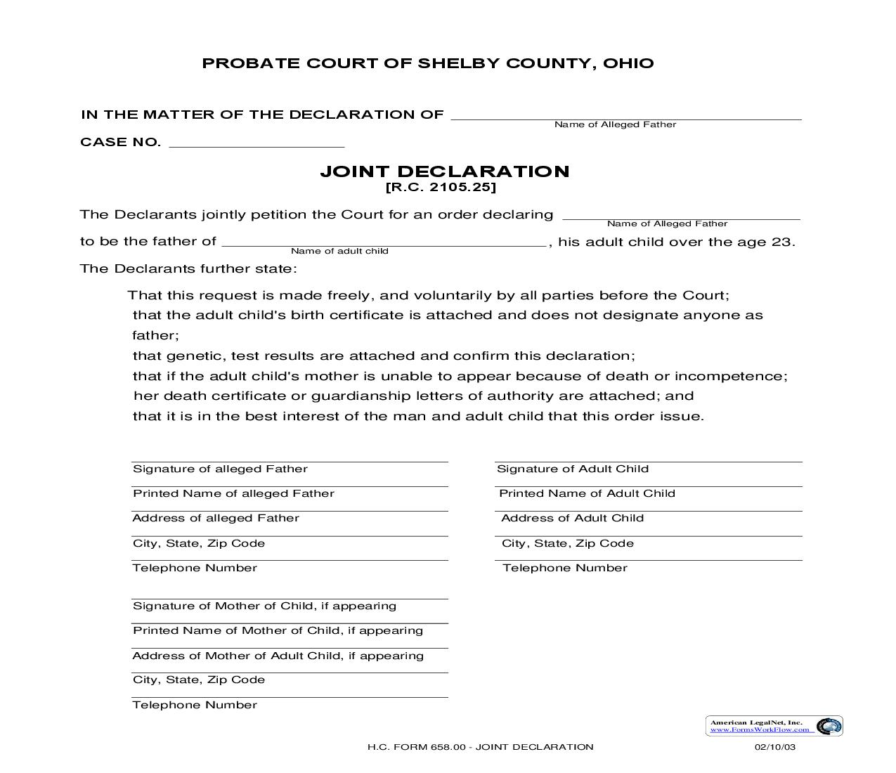 Joint Declaration {658.00} | Pdf Fpdf Doc Docx | Ohio