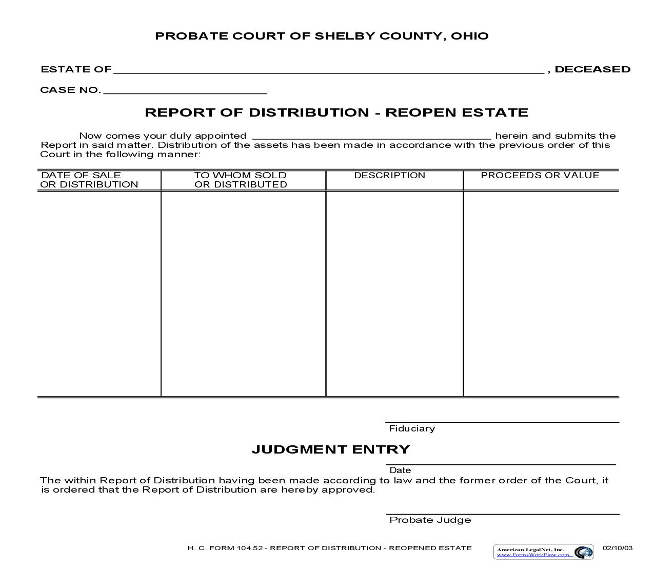 Report Of Distribution Reopen Estate {104.52} | Pdf Fpdf Doc Docx | Ohio