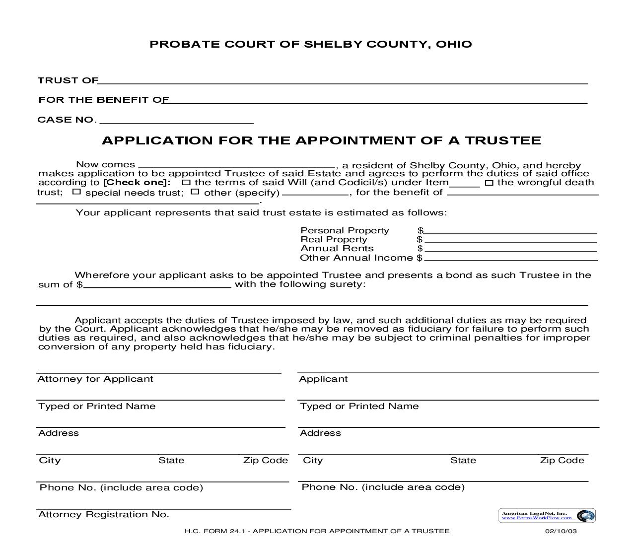 Application For The Appointment Of A Trustee {24.1} | Pdf Fpdf Doc Docx | Ohio