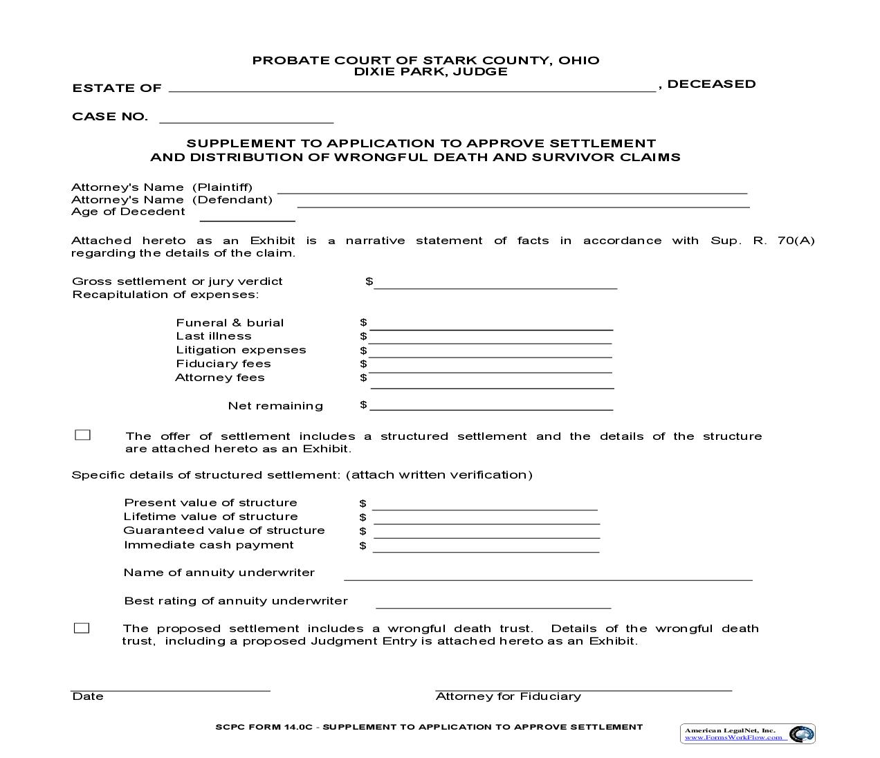 Supplement To Application To Approve Settlement And Distribution Of Wrongful Death And Survival Claims {14.0C}   Pdf Fpdf Doc Docx   Ohio