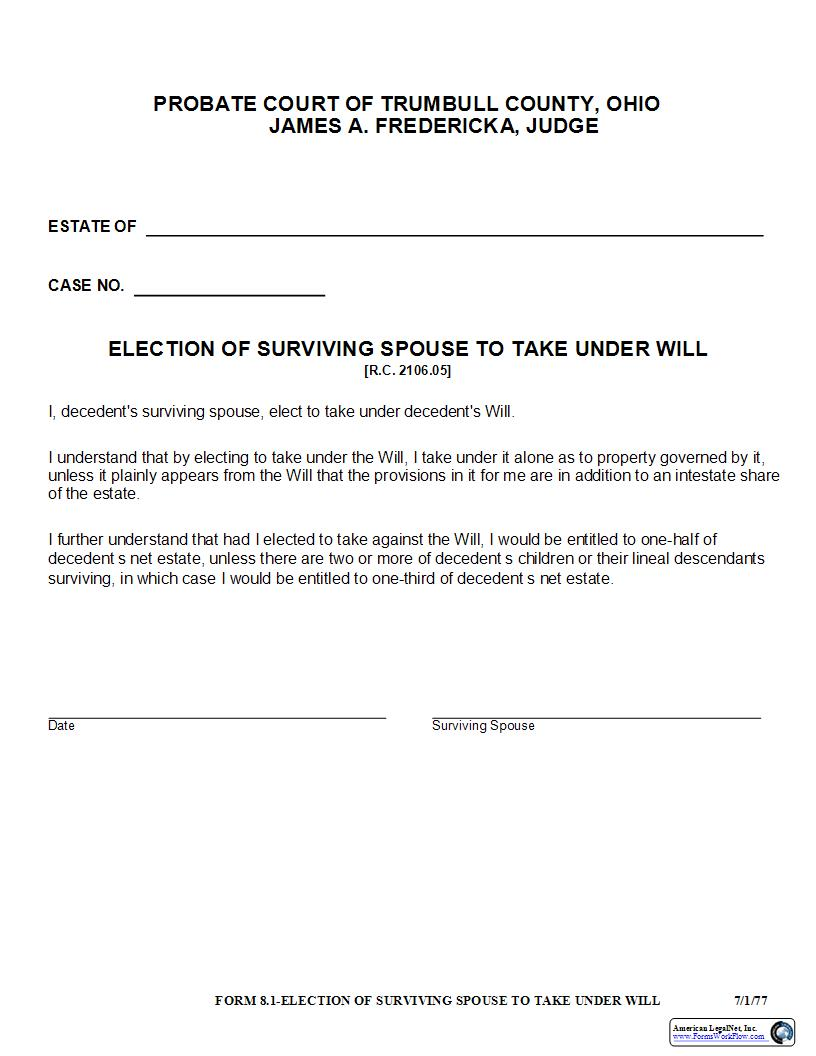 Election Of Surviving Spouse To Take Under Will {8.1} | Pdf Fpdf Docx | Ohio