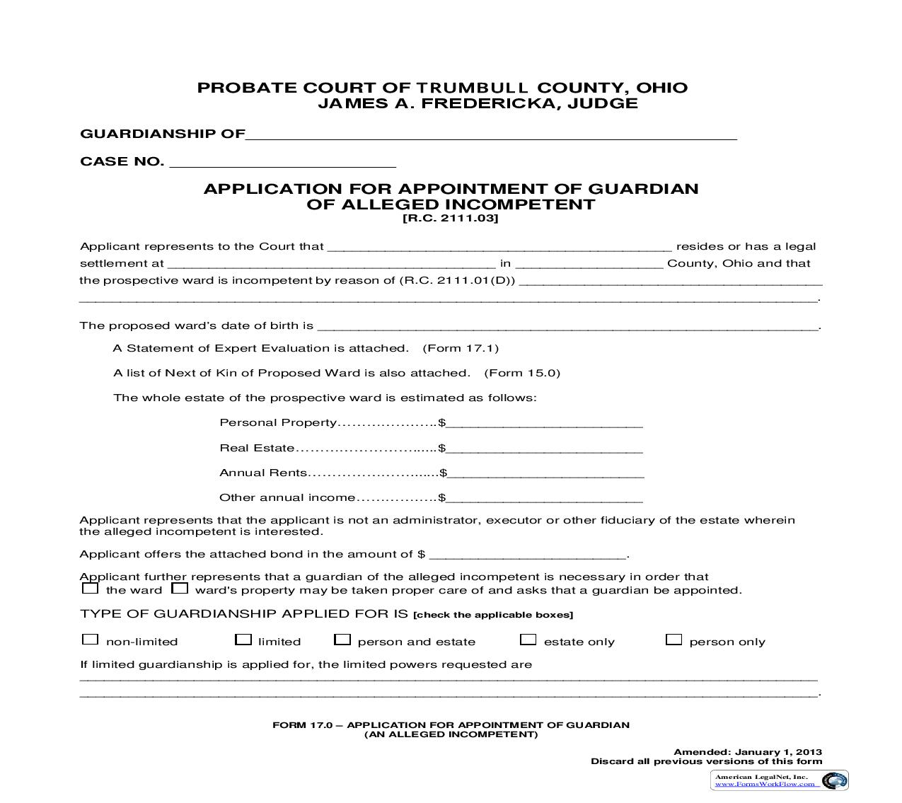 Application For Appointment Of Guardian Of Alleged Incompetent (Trumbull) {17.0} | Pdf Fpdf Doc Docx | Ohio