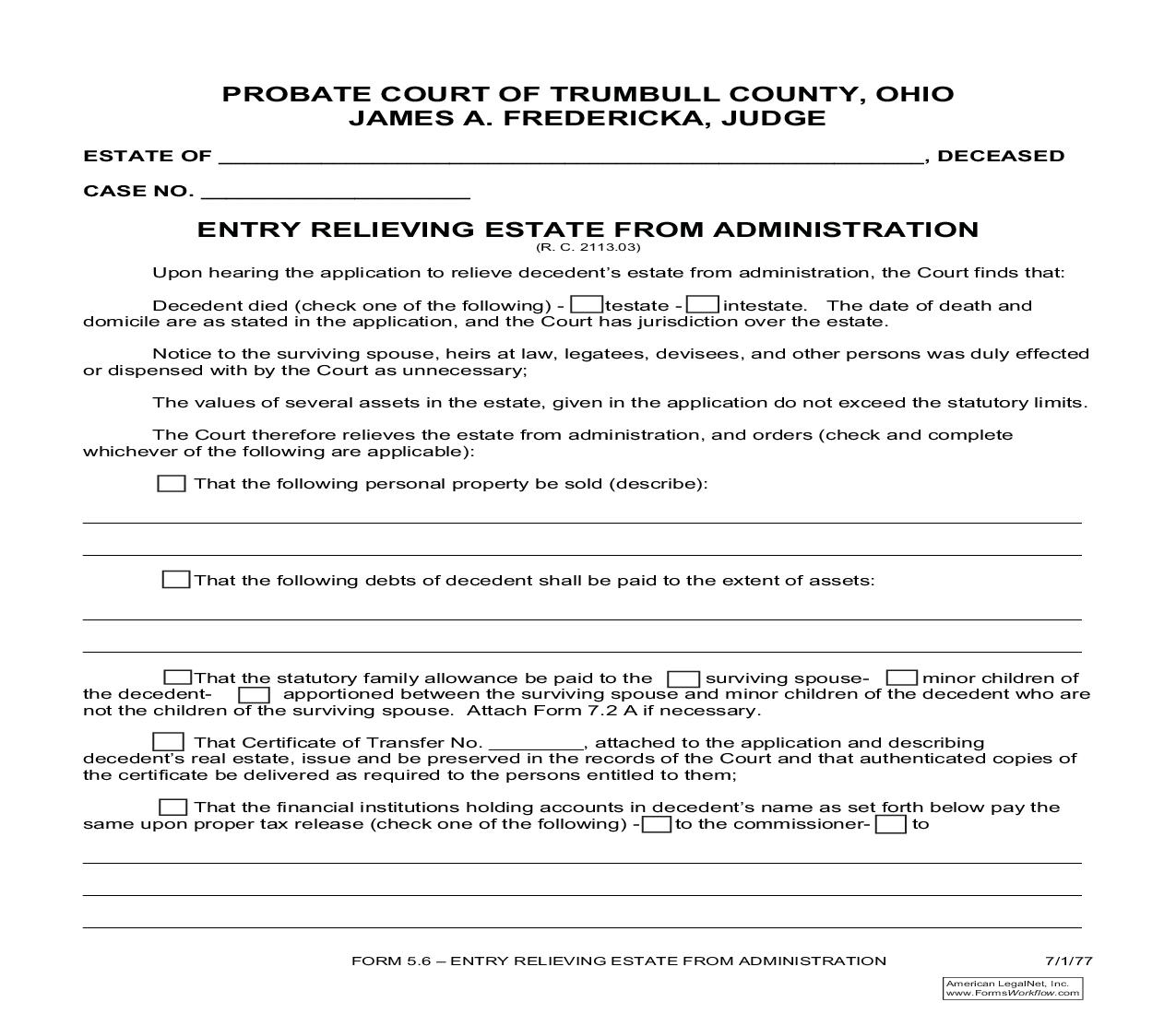 Entry Relieving Estate From Administration (Trumbull) {5.6} | Pdf Fpdf Doc Docx | Ohio