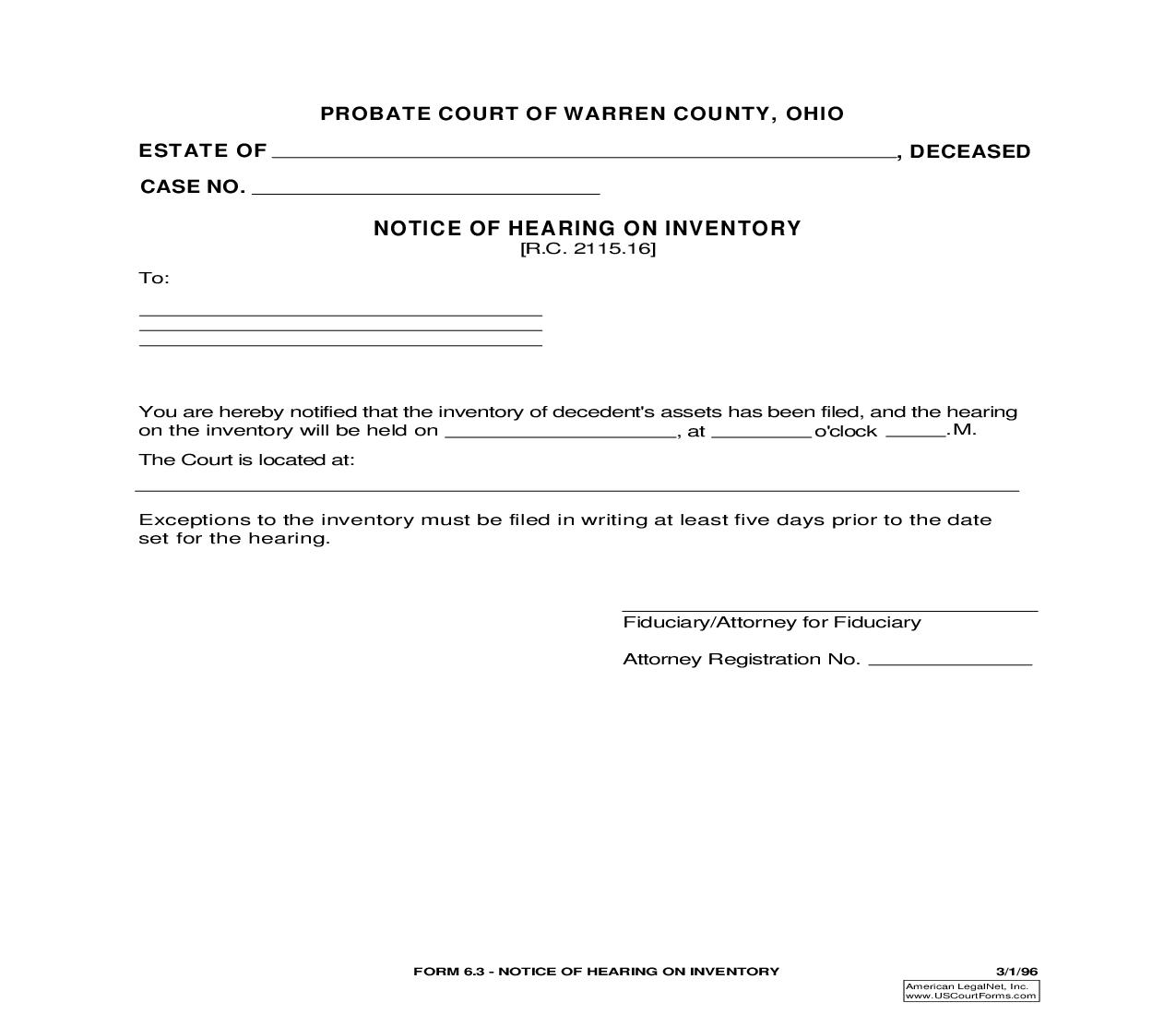 Notice Of Hearing On Inventory {6.3}   Pdf Fpdf Doc Docx   Ohio