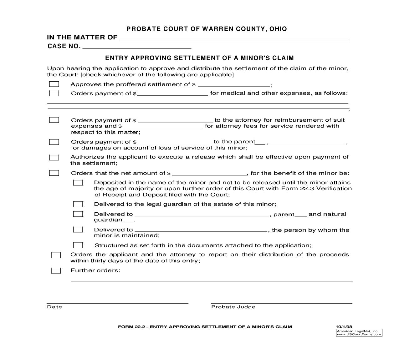 Entry Approving Settlement Of A Minors Claim {22.2} | Pdf Fpdf Doc Docx | Ohio