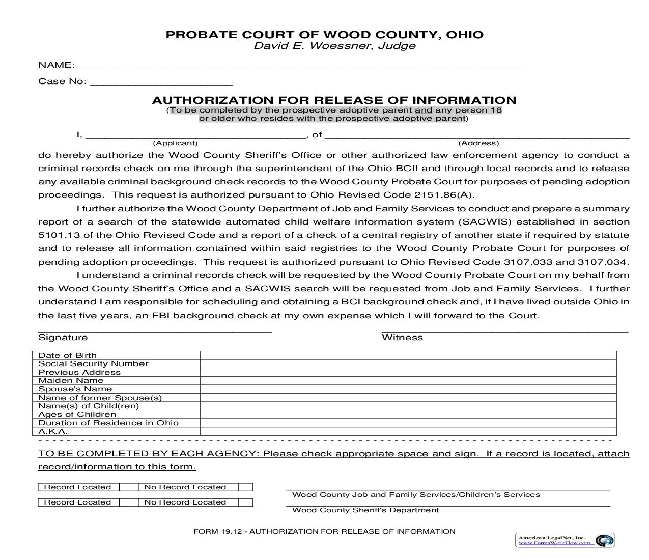 Authorization For Release Of Information {19.12} | Pdf Fpdf Doc Docx | Ohio