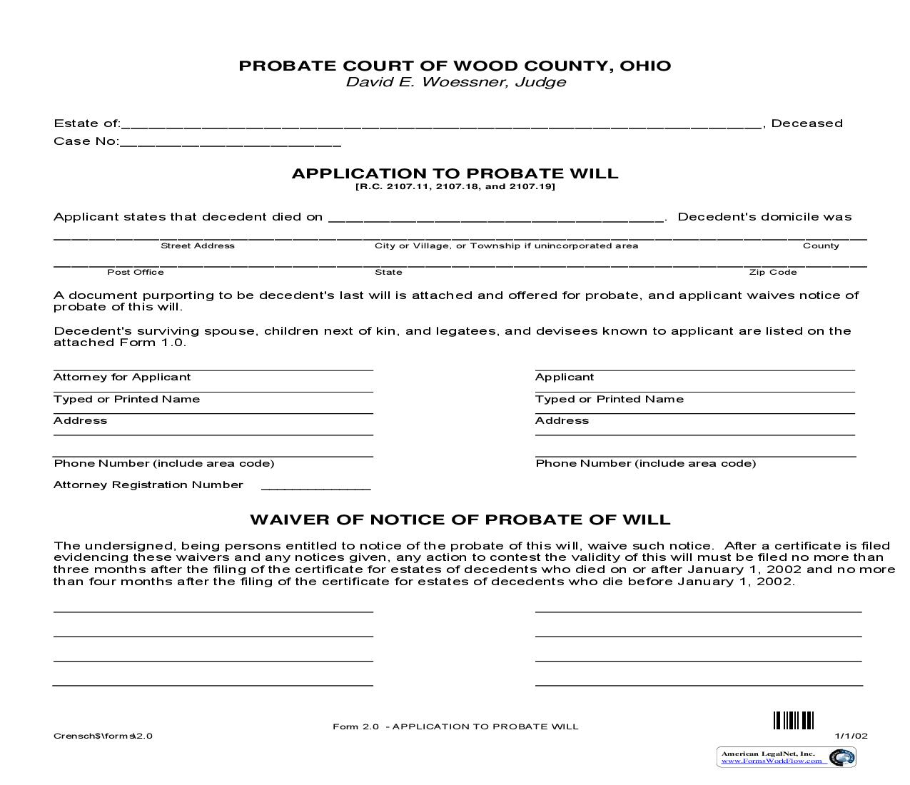 Application To Probate Will {2.0} | Pdf Fpdf Doc Docx | Ohio